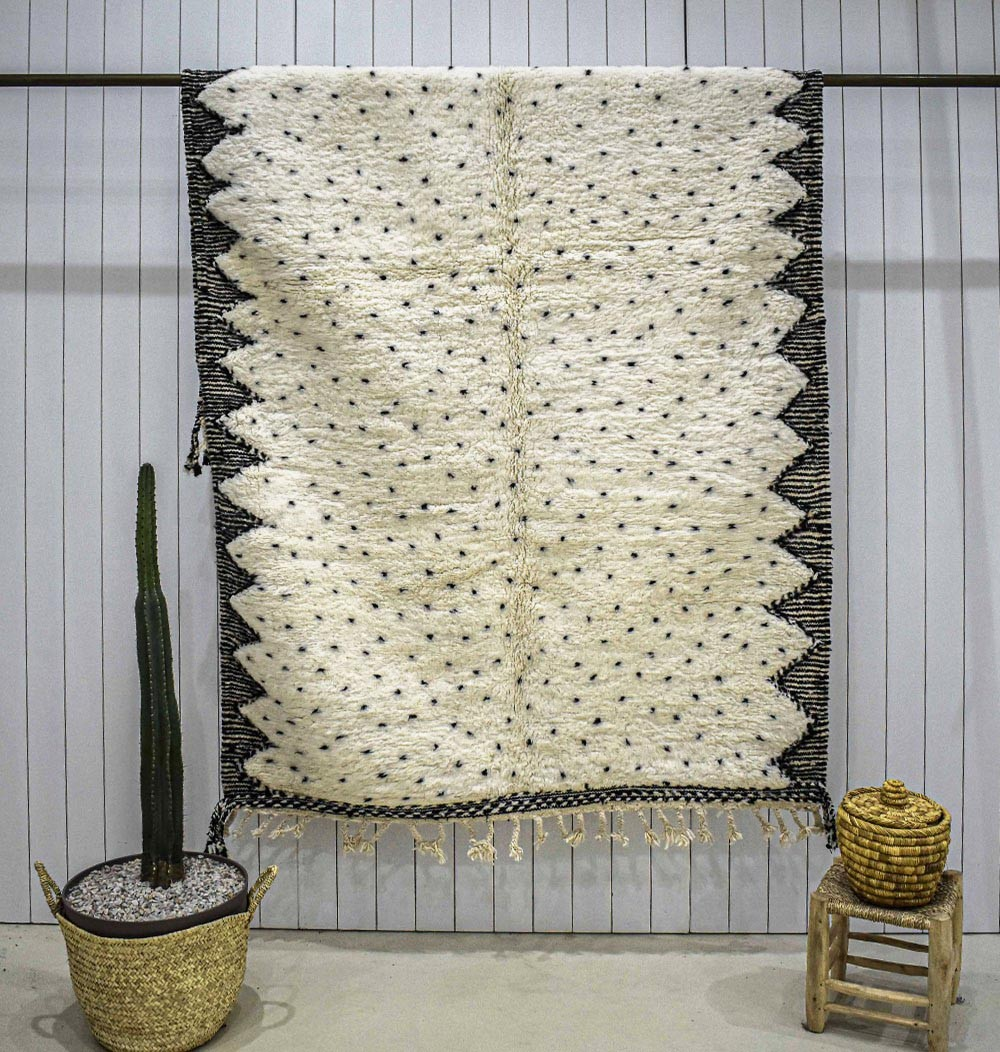 Beni Ouarain rug spaced dots two-tone frame NB
