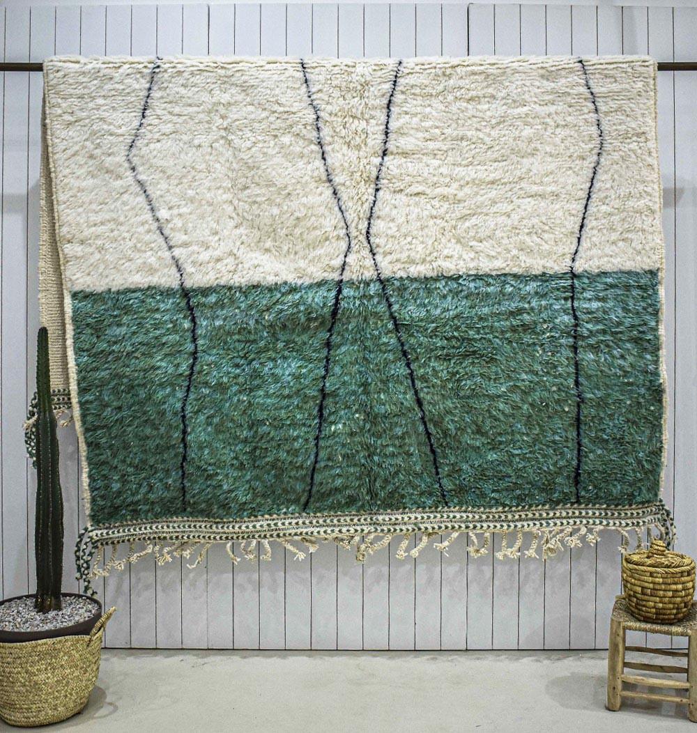 Beni Ouarain rug green and white background
