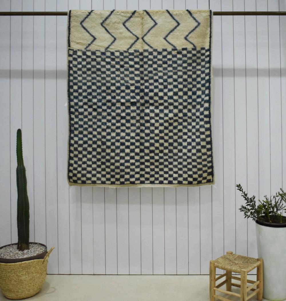 Vintage Medium Zigzags and Checkerboard Rug