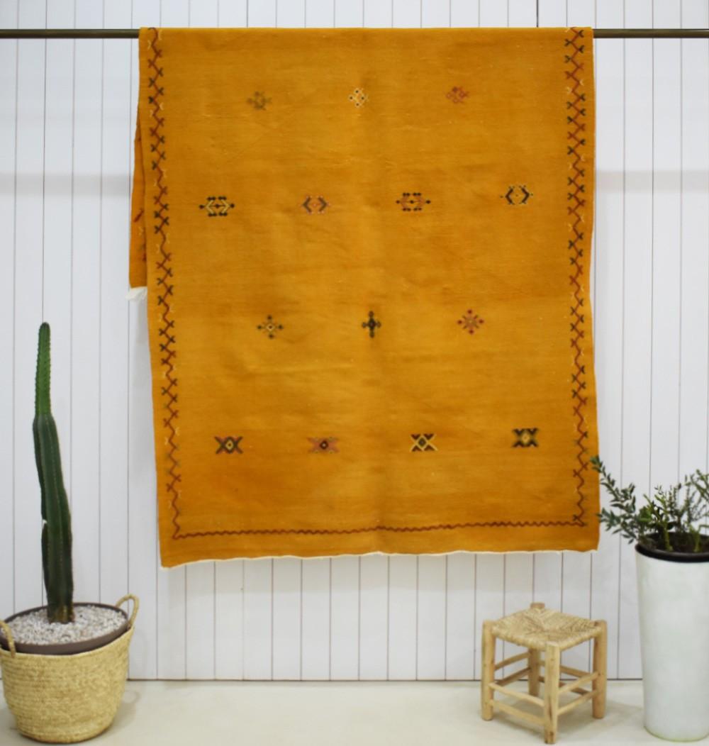 Grand tapis Kilim fond orange