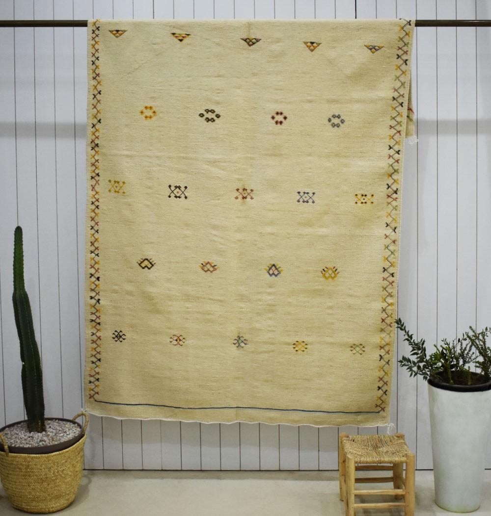Large Kilim rug beige background