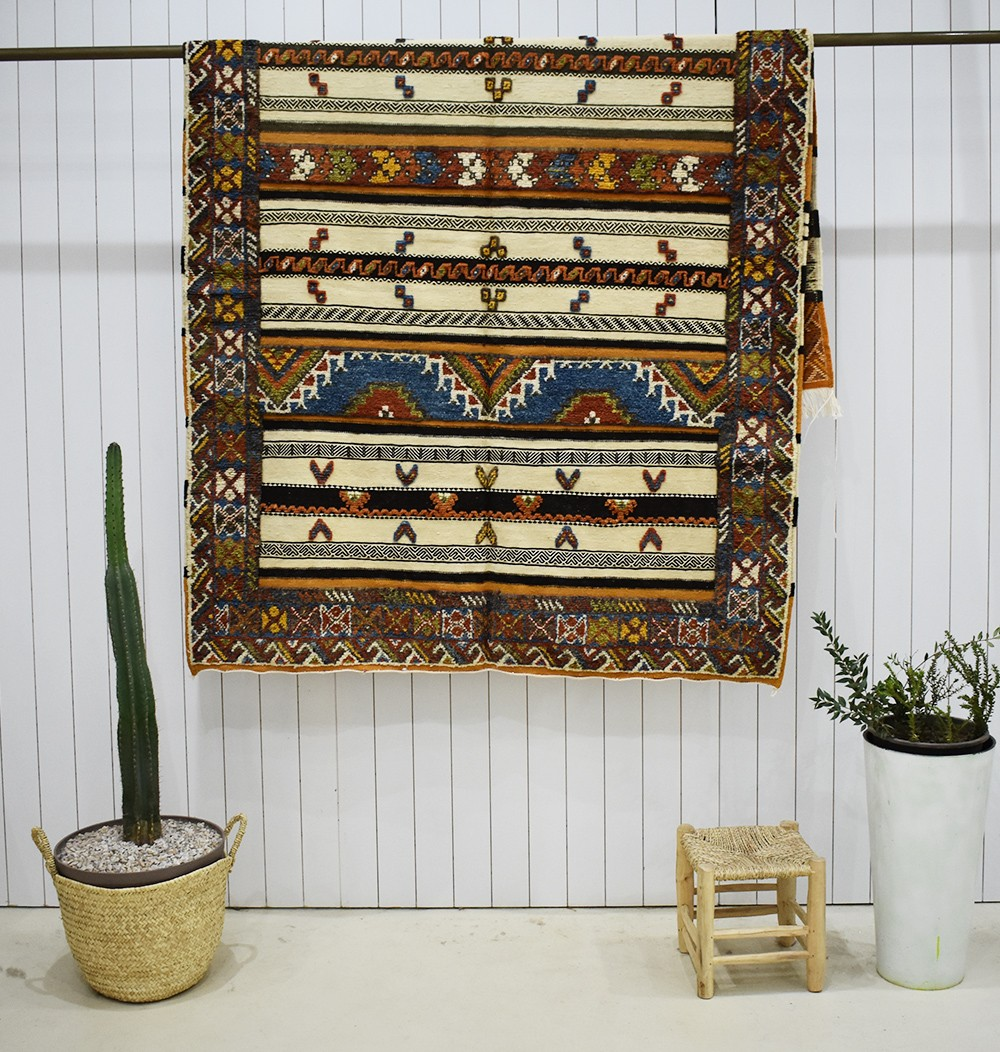Large Vintage Rug Double effect small patterns
