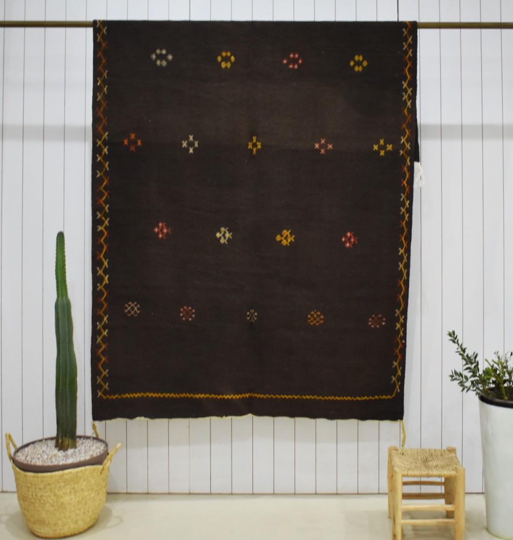 Large Kilim rug Brown background