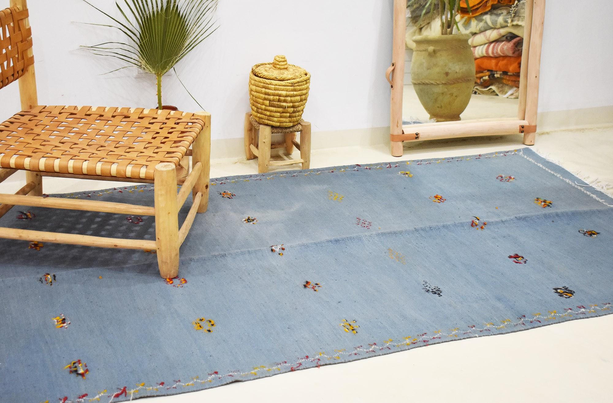 Large Kilim rug blue background