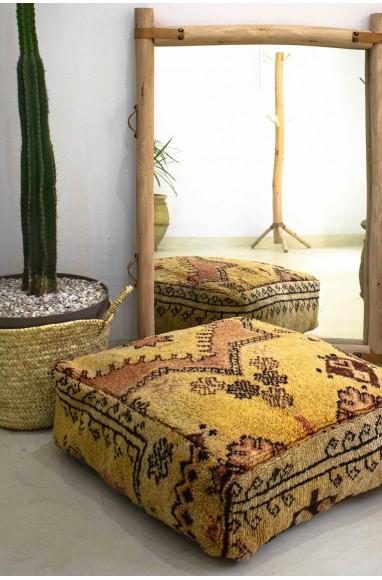 Pouf Vintage carré en laine épaisse et assise façon lin