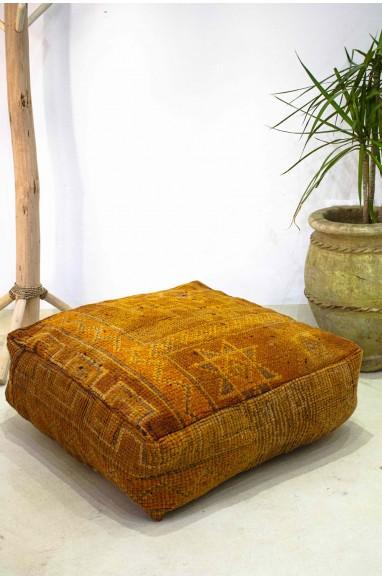 Pouf Vintage carré en laine velours Orange