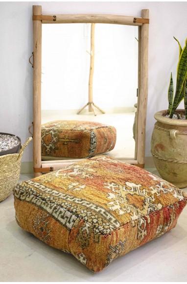 Pouf Vintage carré en laine rase velours style Gréco-berbère