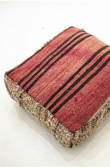 Pouf Vintage carré en laine épaisse Broussailles