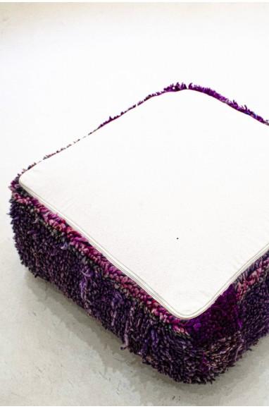 Pouf Vintage carré en laine épaisse violet