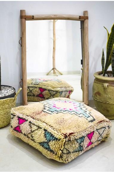Pouf vintage carré en laine Losange et sabliers