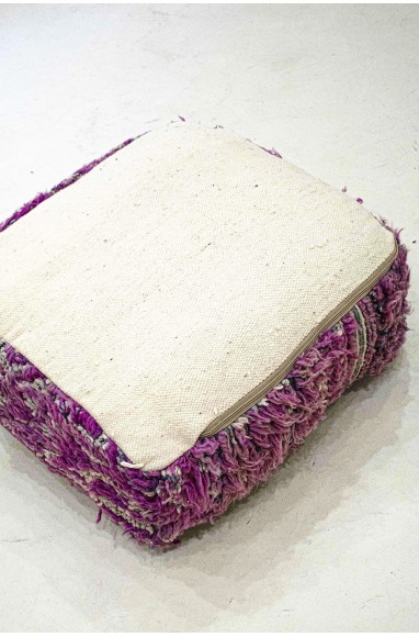 Pouf Vintage carré en laine ras et chevelu
