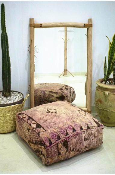 Pouf Vintage carré en laine épaisse rase Délavé