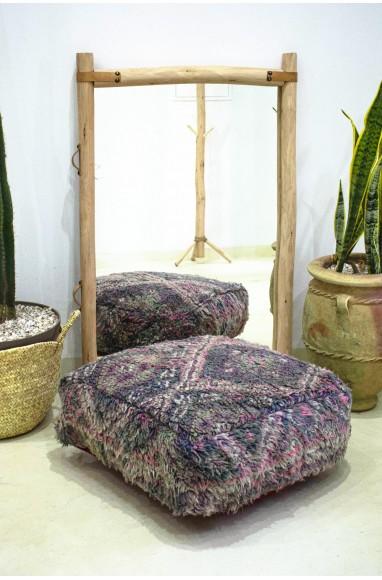 Pouf Vintage carré en laine épaisse tons de gris