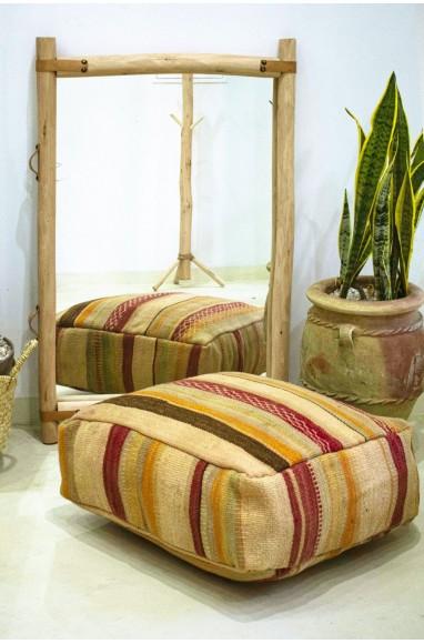Pouf Vintage carré en coton de laine, broderies Nid d'abeille