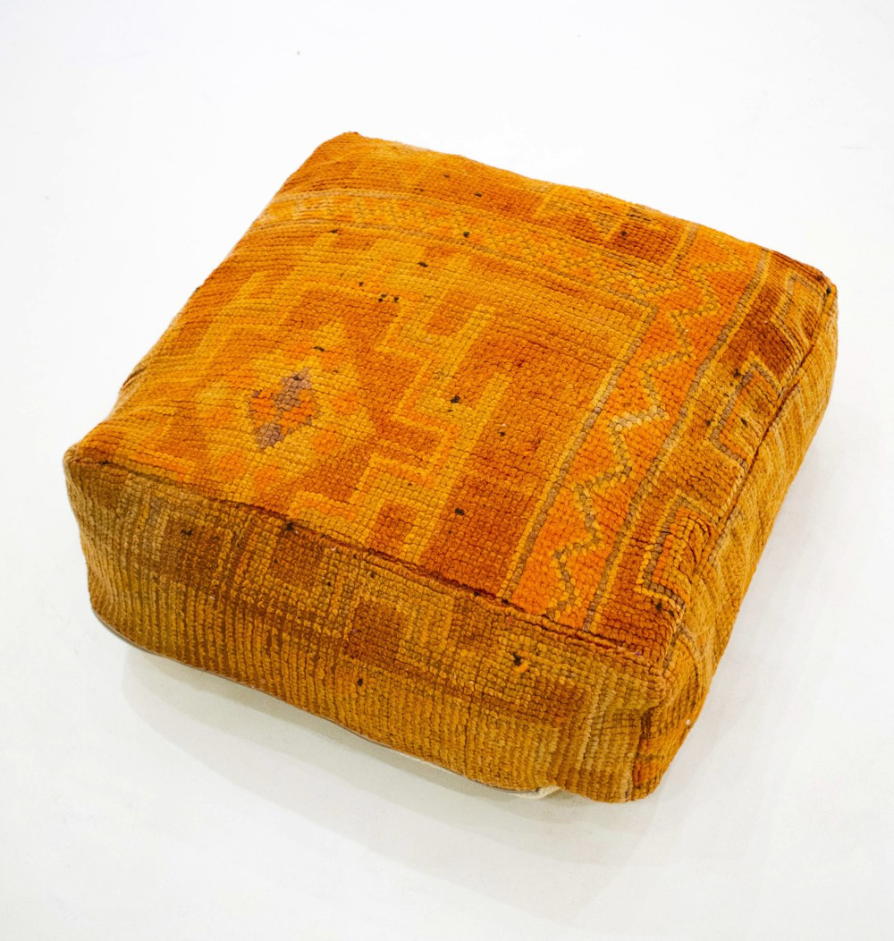 Vintage Square Pouffe in Orange Velvet Wool