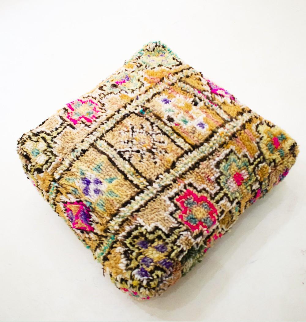 Pouf Vintage carré en laine épaisse Echelle