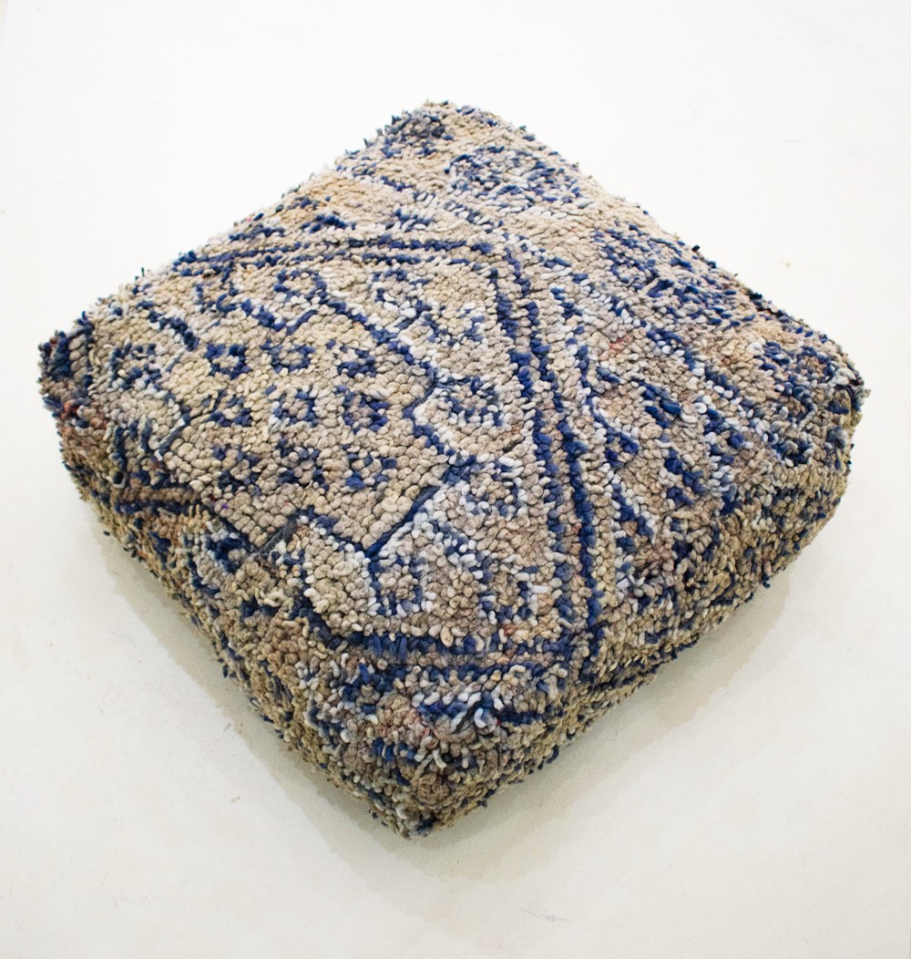 Vintage square pouf in bluish gray wool