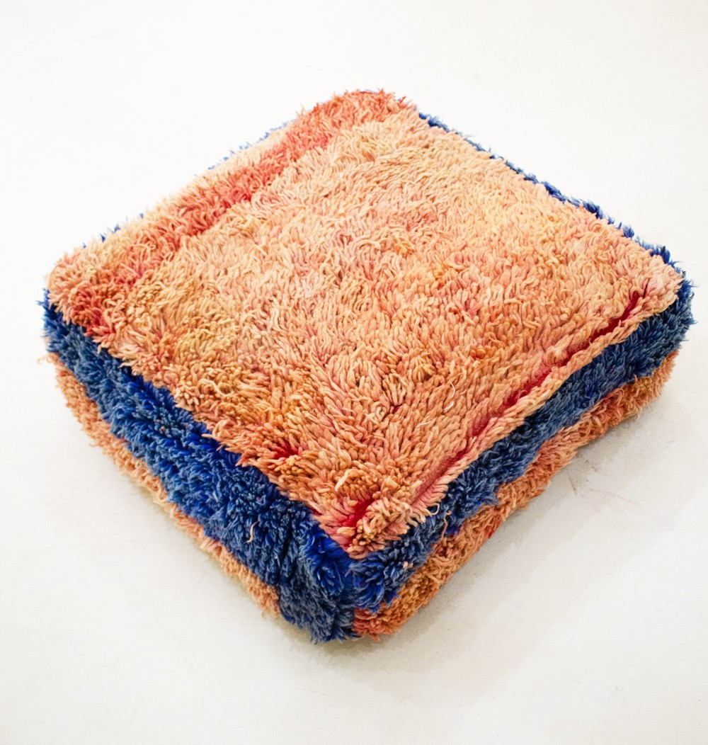 Vintage square pouf in thick wool and tricolor