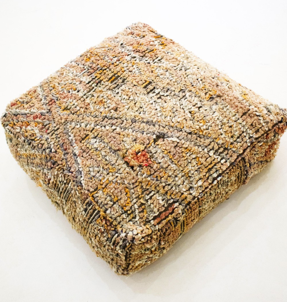 Vintage square pouf in thick wool Broussailles