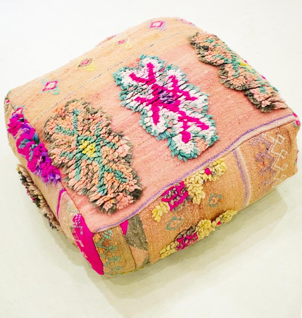 Vintage square pouf Wool patterns on short weave