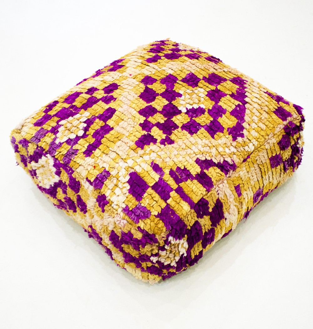 Vintage square pouf in thick purple checkered wool