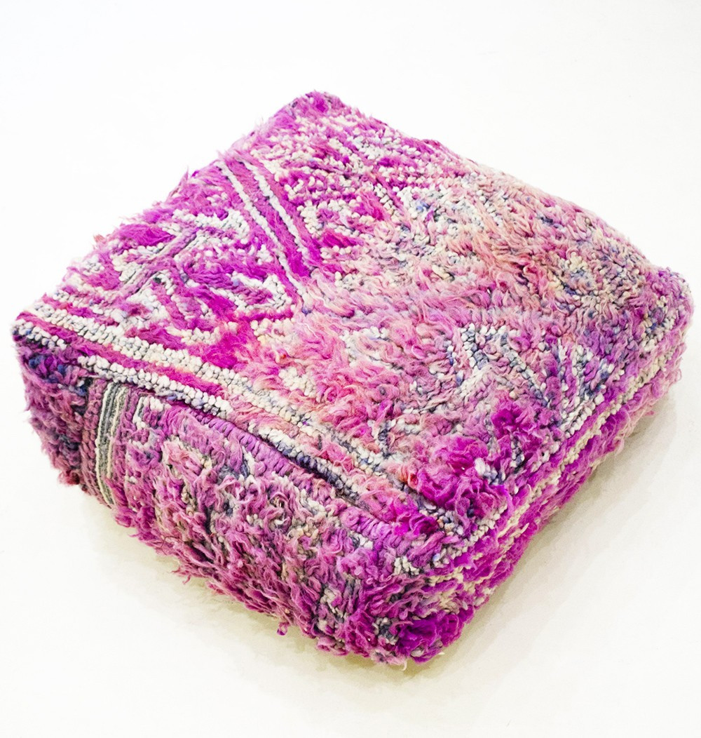 Vintage square pouf in short and hairy wool