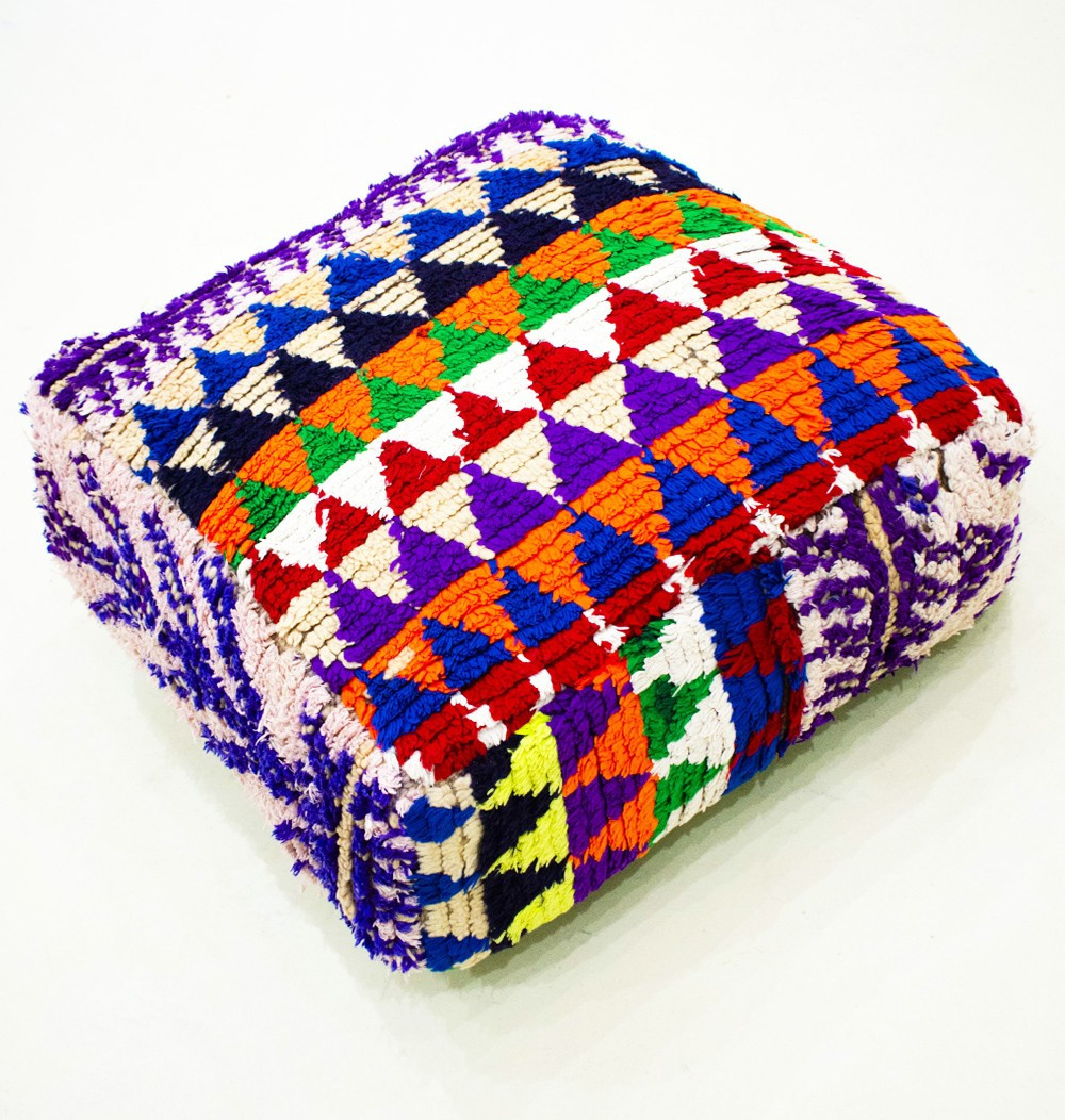 Vintage square pouf in wool colored triangles