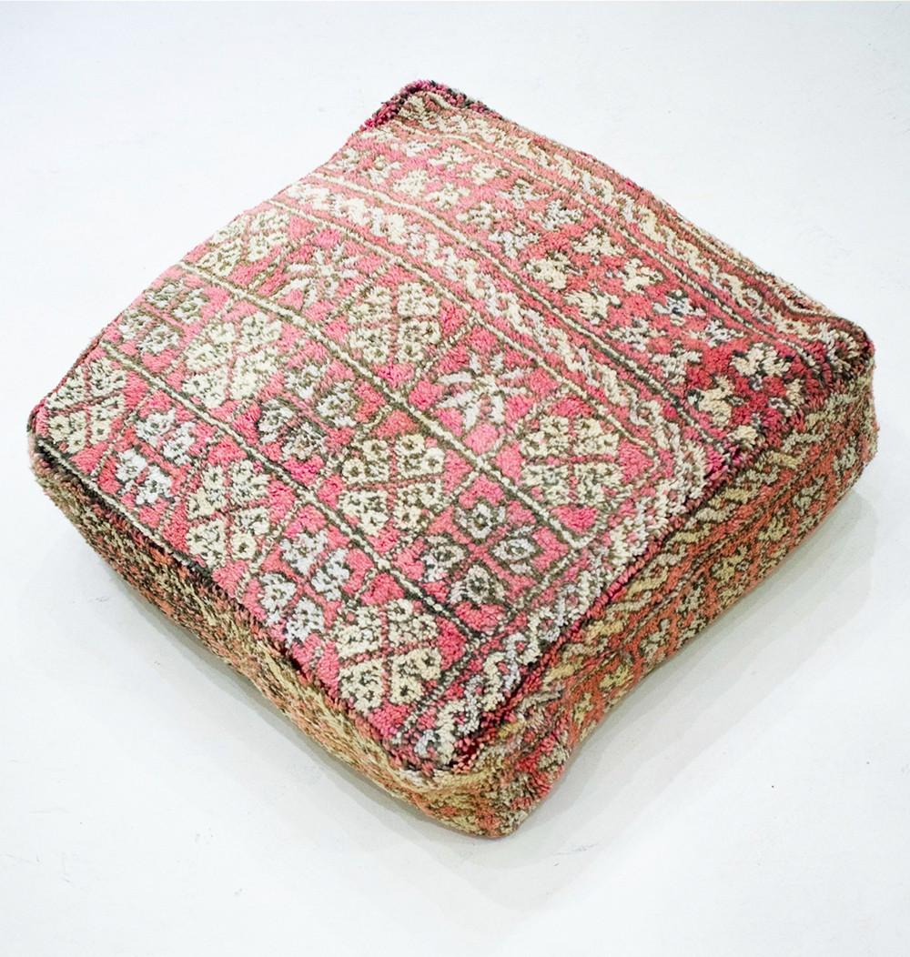 Pouf Vintage carré en laine rase Carreaux fleuris
