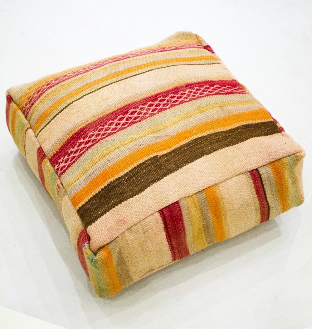 Vintage square pouf in wool cotton, honeycomb embroidery