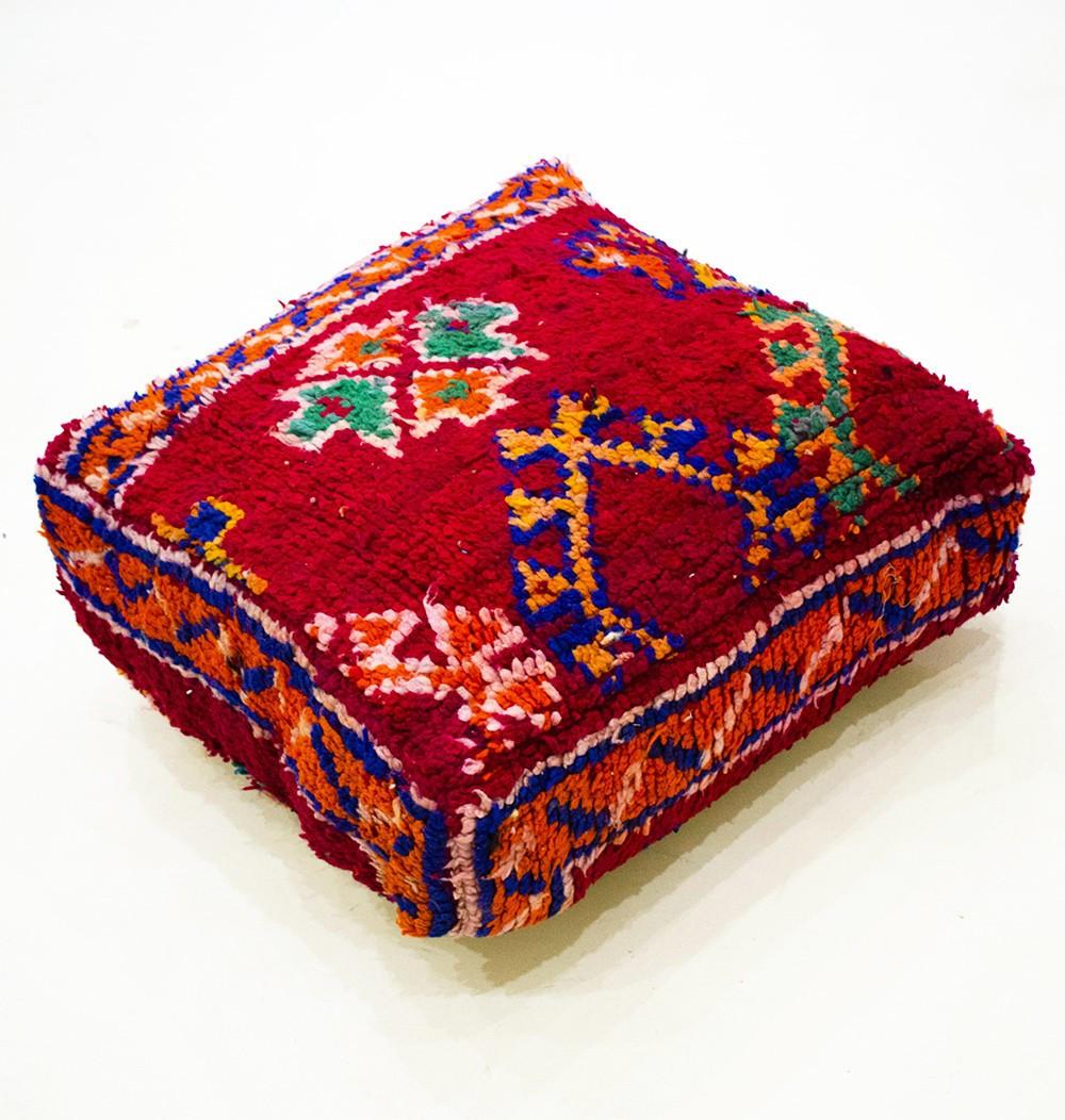 Pouf Vintage carré en laine épaisse rase et effilochée Rouge