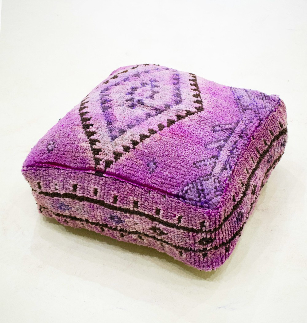 Vintage square pouf in thick shaved wool velvet look Glamor