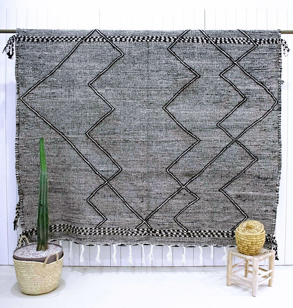 Vintage rug Heather gray black
