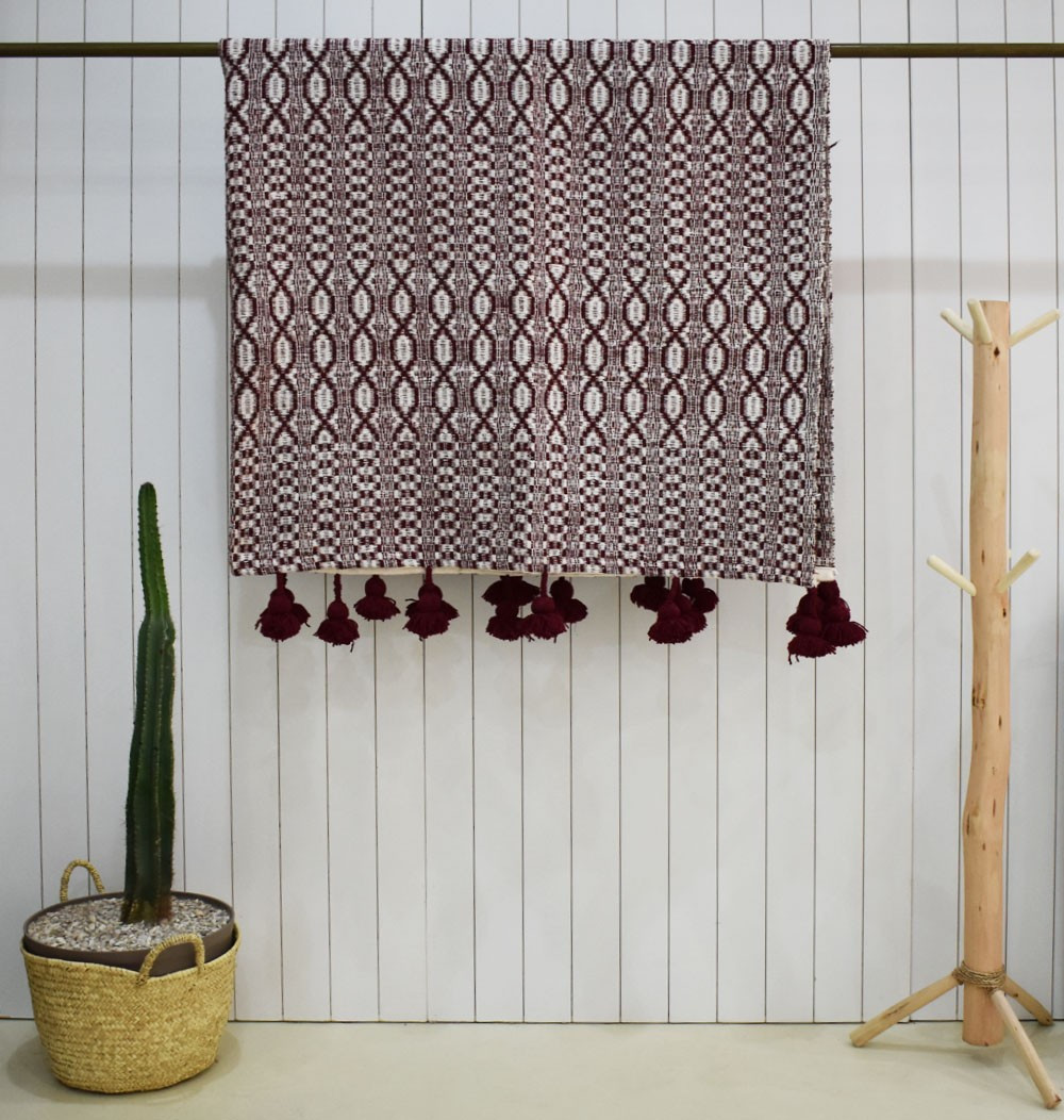 Burgundy gray and white Maillons throw
