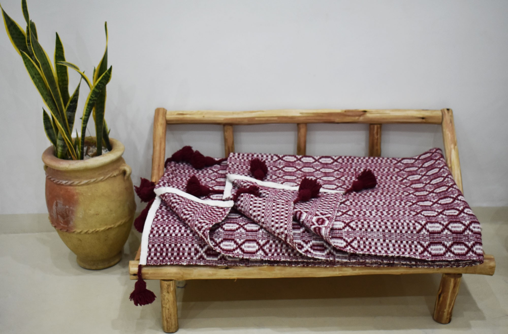 Burgundy gray and white relief throw