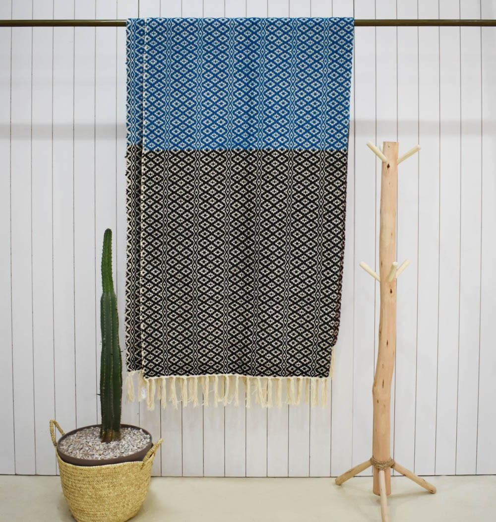 Two-part plaid Blue and brown