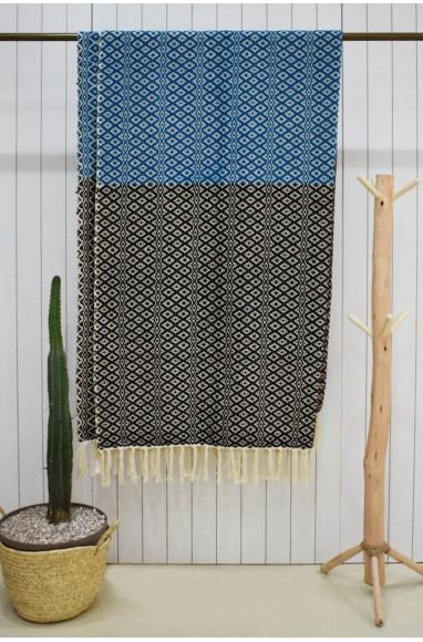 Plaid en deux parties Bleu et marron