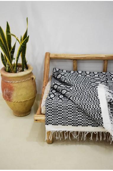 Plaid blanc gris et noir Maillons