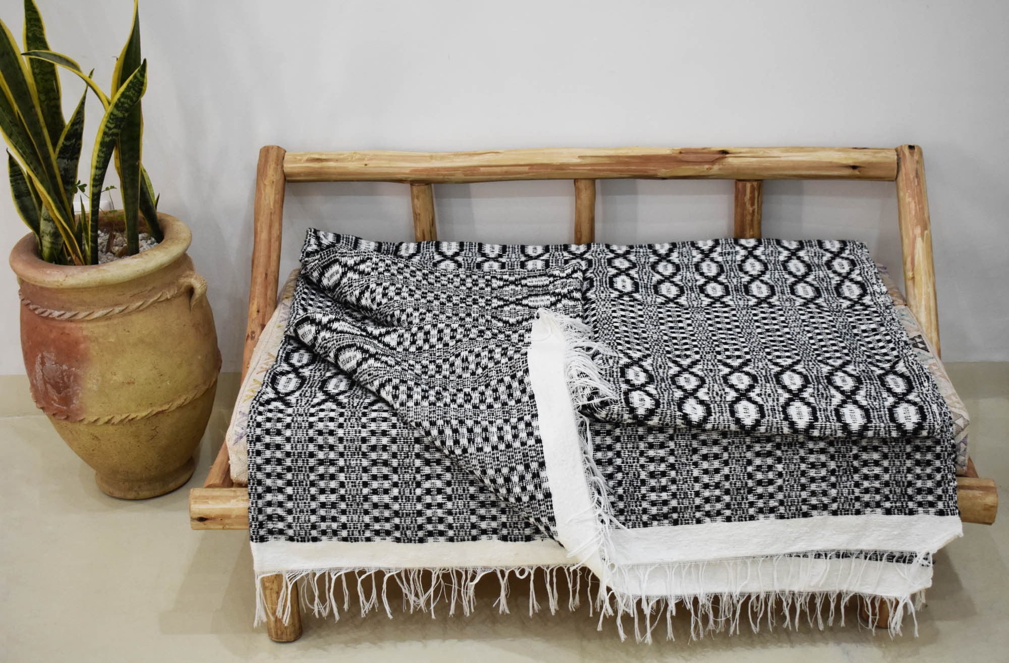 White gray and black Maillons plaid