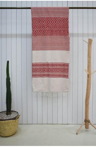 Grand plaid en rouge et blanc