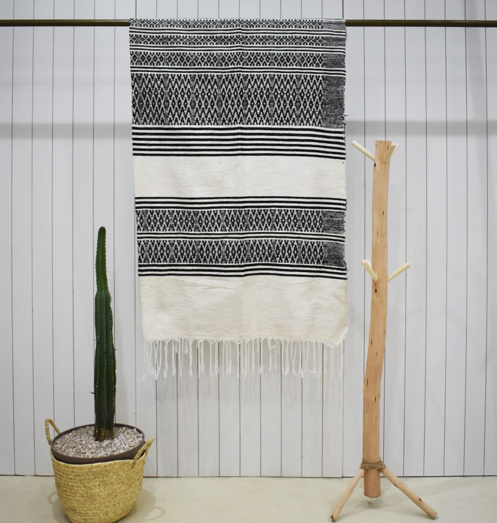 Large white, black and gray plaid