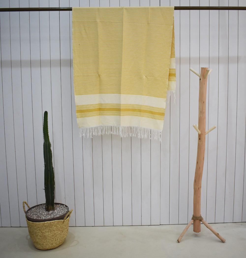 Plaid fond blanc rayé beige et jaune
