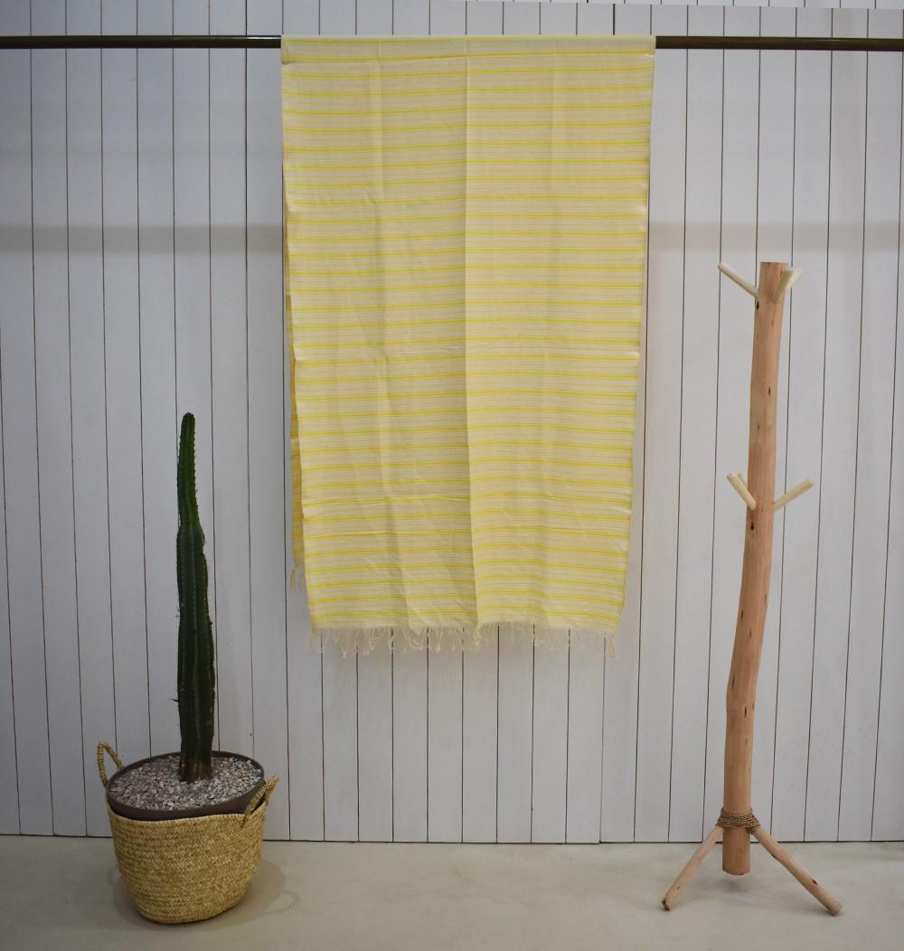 Plaid rayé blanc et jaune