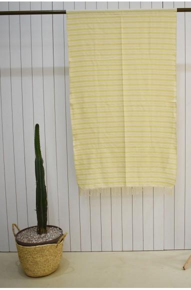 Plaid façon toile de matelas en beige et jaune