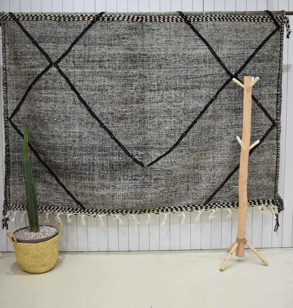 Heather gray and black kilim rug Lines