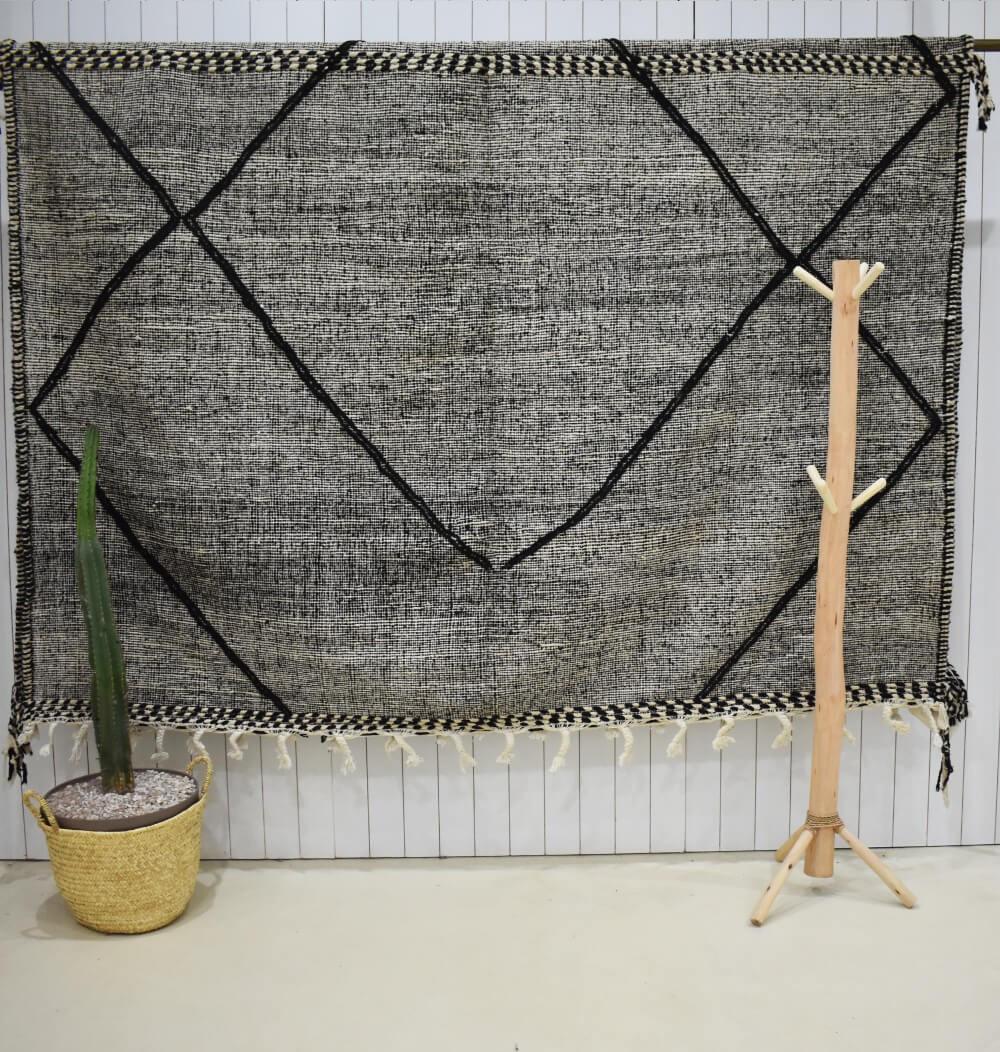 Tapis Kilim chiné gris et noir Lignes