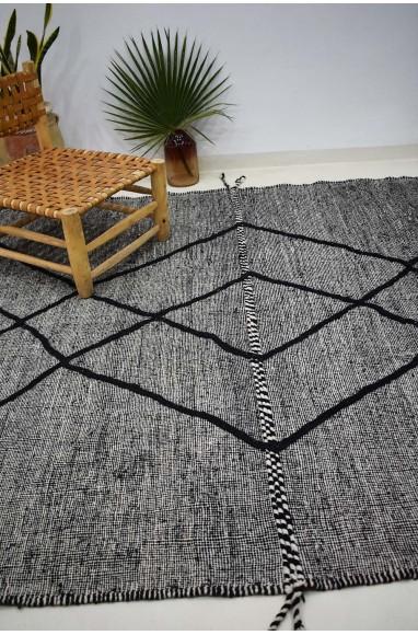Tapis Kilim chiné gris et noir Losange