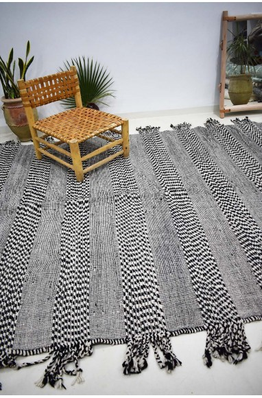 Heather gray and black kilim rug with two-tone bands