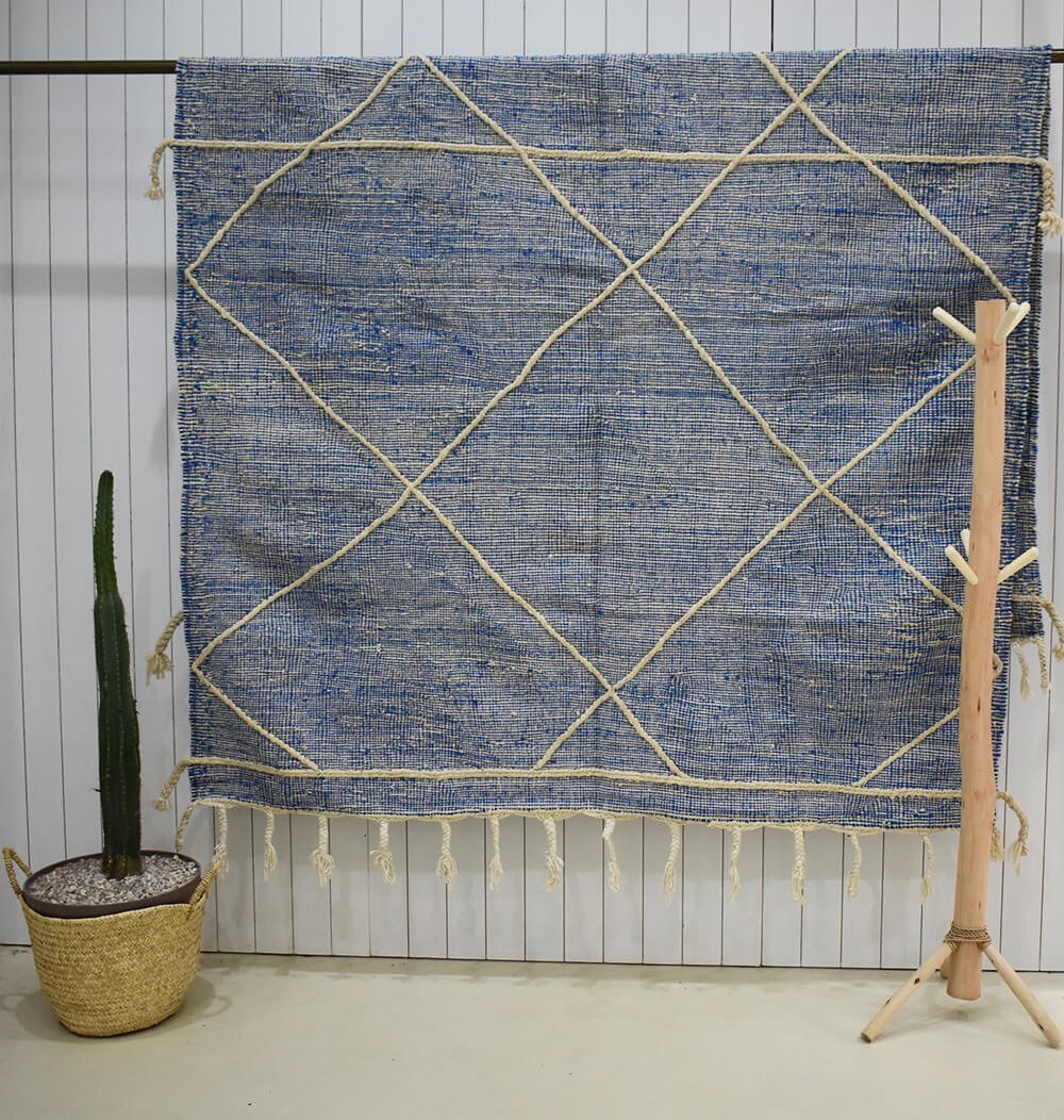 Heather gray and blue kilim rug, beige diamonds