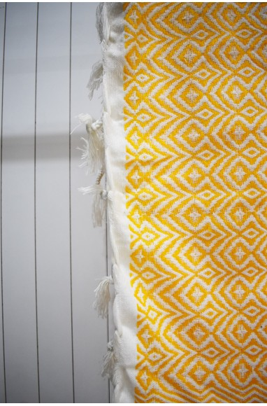 Yellow and white plaid with fine white pompoms