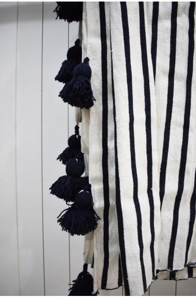 Black and white striped plaid wool pompom finish